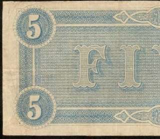 1864 $5 DOLLAR BILL CONFEDERATE CURRENCY CIVIL WAR ERA NOTE CSA PAPER