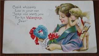 VALENTINES DAY POSTCARD   *CUPID WHISPERS LOW IN YOUR EAR*