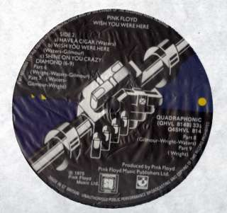 PINK FLOYD WISH YOU WERE HERE ULTRA RARE QUADRAPHONIC VINYL LP