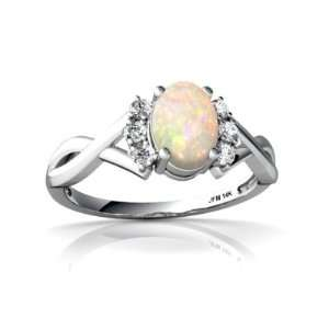 14K White Gold Oval Genuine Opal Ring Size 6 Jewelry