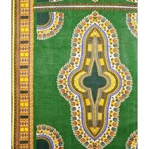 African Fancy Print Ornate Symbol On Green Fabric: Arts