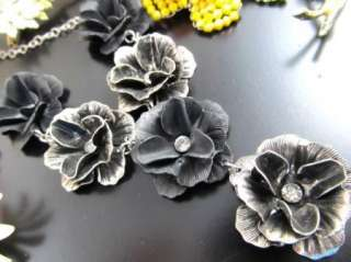 15 Vtg ENAMEL Retro Fun FLOWER Floral Pin/Earring LOT