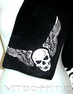 Retro Biker Tattoo Skull Wings BlackFleece Scarf Men