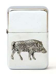 Wild Boar Petrol Lighter FREE ENGRAVING Hunting Gift