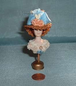 Miniatures Bisque Porcelain Milliners Wigged Lady Mannequin w. Hat