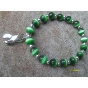 Green Cats Eye Glass Bead Awareness Bracelet   (Fundraising Idea