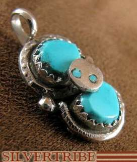 Effie Calavaza Zuni Turquoise And Silver Snake Pendant