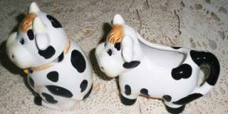 Vintage Black & White Porcelain Cow Creamer & Sugar Set Harvest Gifts