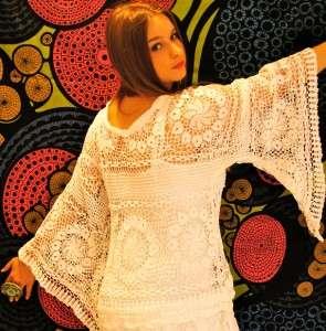 WHITE CROCHET Cutwork vtg Hippie FLOWERS ANGEL Slv PARTY Wedding Dress