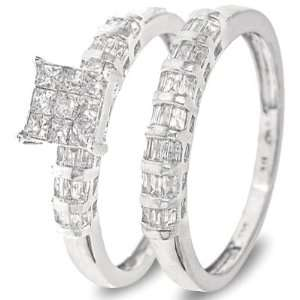 Cut Diamond Womens Bridal Wedding Ring Set 14K White Gold   Two Rings