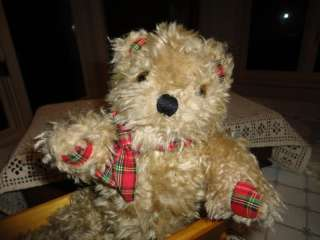 Antique Shaggy Brown Plush Teddy Red Plaid Paws L1216