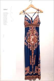 Exotic Totem Women V neck Thin Strap Long Maxi Dresses