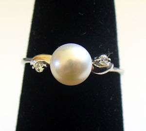 Sterling Silver White Pearl Promise Ring sz 5.5 6 7 8 9
