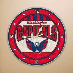 Washington Capitals 12 Art Glass Clock Sports & Outdoors
