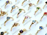 Wholesale lots 100 CZ crystal rhinestone gold p Rings