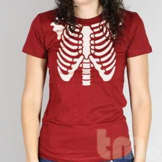 SKELETON RIBS American Apparel ladies 2102 T Shirt Cobra Kai Halloween