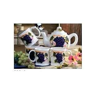 Amadora white grapes 5 piece tea set: Kitchen & Dining
