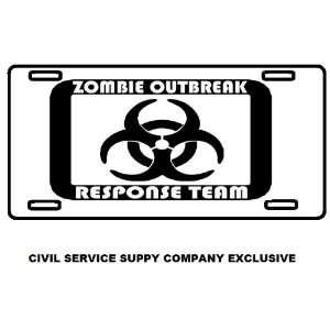 Zombie Outbreak Response Team Metal License Plate Tag