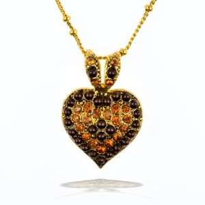Amaro Necklace   Heart Amulet in Gold, Topaz and Jet Tones