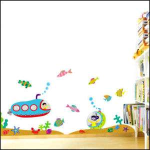 Jewelly Submarine Kid WALL ART STICKER Removable Decal