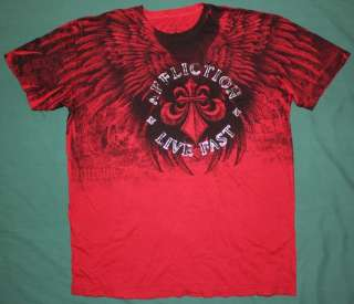 Affliction LIVE FAST Series Tee T Shirt RED SIZES NEW