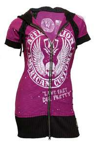 AFFLICTION HOODIE SHORT SLEEVE PINK WHITE AMERICAN COSTUME SHORT
