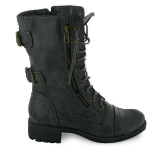 NEW LADIES MILITARY LACE UP ANKLE ARMY WORKER BOOTS UK