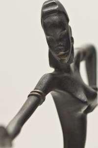 Signed Art Deco Austrian Hagenauer Bronze African Dancer Statue