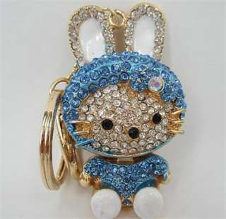 Hello Kitty Swarovski Crystal Charm Pendant Key Bag Chain Gift