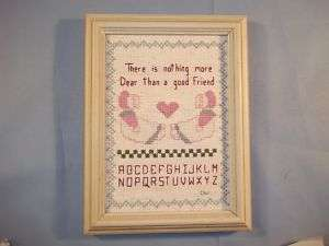 Vintage Finished Cross Stitched Picture~A Good Friend