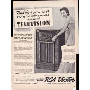 com RCA Victor Radio with Television Attachment 1939 Original Vintage