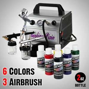 Airbrush Kit Air Compressor Dual Action Createx Primary Paint Set
