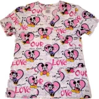 Mickey & Minnie Mouse Love Nurse Smock scrubs top