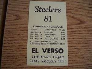 1981 Pittsburgh Steelers Football Pkt Schedule El Verso