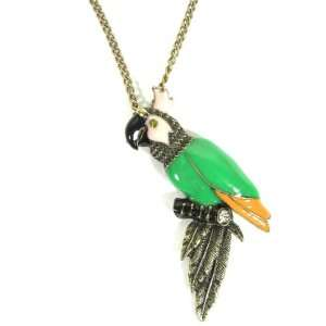 Tropical Parrot Necklace Green Pink Jungle Cockatoo Crystal Bird Charm