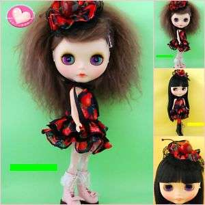 BHC Pullip Blythe Doll Outfit Straw Cherry Dress Set
