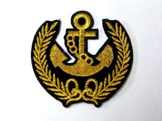 GOLD ANCHOR MARINE SEA NEW IRON ON PATCH EMBROIDER I157