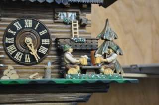 German Cuckoo Clock Black Forest 8 Day Swiss Movement Animated Musical