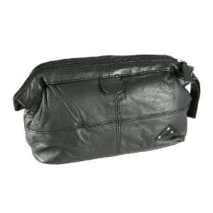 Black Nappa Leather Toiletry Bag Shaving Dopp Beauty