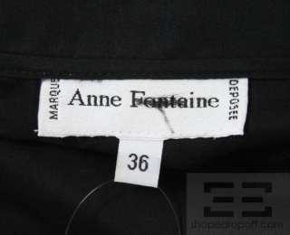Anne Fontaine Black Sheer Cotton & Lace Trim Ruffle Blouse Size 36