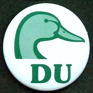 DUCKS UNLIMITED GREEN DUCK HEAD LOGO PIN BACK BUTTON