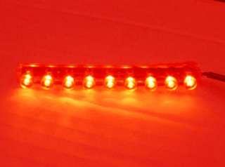 RED 9 LED FLEXIBLE STRIP MOTORCYCLE/CAR/BOAT/RV Bright POD LIGHT 12V