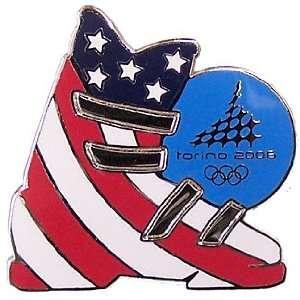 Torino 2006 Olympics American Flag Ski Boot Pin Sports