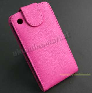 Clean High Quality Hot Pink Leather Flip Cover Case for iPhone 3G 3GS