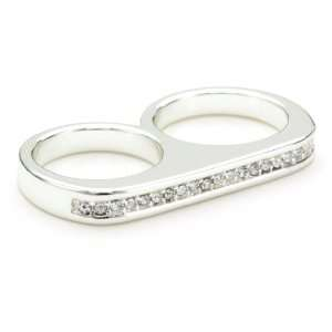 Anenberg True Sparkle Crystal Silver Twosome Ring, Size 5 Jewelry