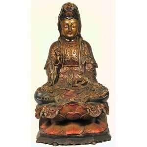 Tibetan Wood Gilt Carved Cloisonne Quan Yin: Everything Else