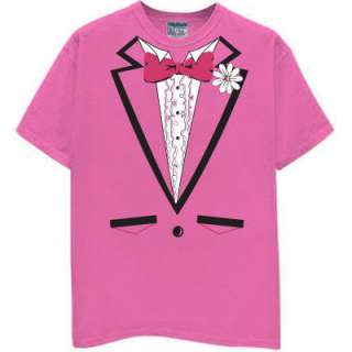 PINK TUX TUXEDO T SHIRT cancer ribbon breast vintage S