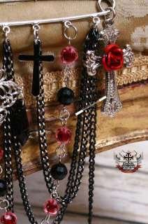 GOTHIC DOLL EGL Mirror Heart Rose Crucifix Brooch Pin D