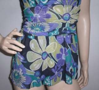 SWEET PEA Beautiful Ruched Floral Artsy Mesh Top Sz M