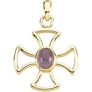 Chalcedony and 14k Yellow Gold Maltese Cross Cut Out Pendant Jewelry